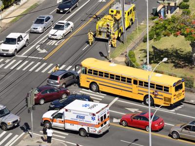 A school bus accident with 2 other cars.