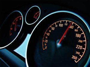 A driver speeding