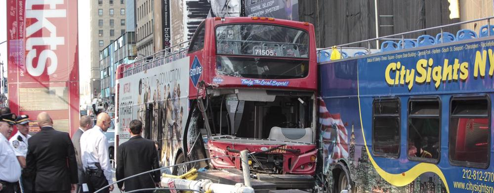 This image shows two double-decker buses after a bus accident.