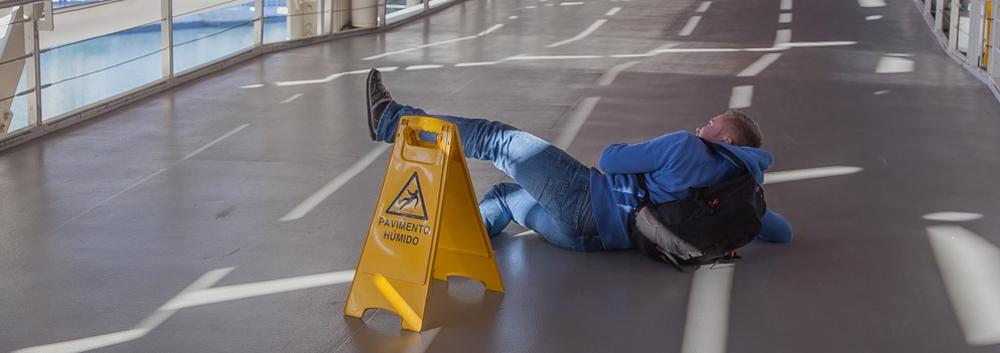 This image shows a man having suffered a slip and fall injury