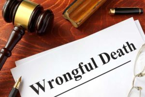 Wrongful death printed on paper with a gavel next to it